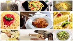 Collage italiano de las pastas almacen de video
