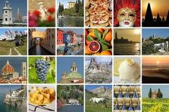 collage italiano de las vacaciones imagenes de archivo