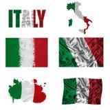Collage italiano della bandierina Immagini Stock