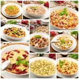 Collage italiano originale della zuppa di fagioli della pasta Fotografia Stock