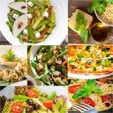 Collage italiano sano e saporito dell'alimento Fotografie Stock Libere da Diritti