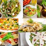 Collage italiano sano e saporito dell'alimento Immagine Stock Libera da Diritti
