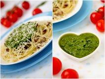 Collage italien de pâtes. Photo stock