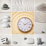 Collage - Japanese garden of stones. Time. Royalty Free Stock Photos