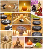 Collage of japanese zen garden. With stones, candles, Buddha and raked sand Royalty Free Stock Photography