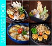 collage japonais de nourriture sur le fond Photos stock