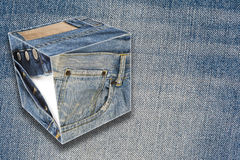 Collage about jeans with a copy space. Collage about blue jeans with a copy space and cubes Royalty Free Stock Images