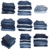 Collage of jeans isolated on white. Collection of folded jeans isolated on white background stock photography