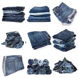 Collage of jeans isolated on white stock photography