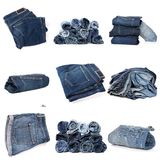Collage of jeans isolated on white stock images