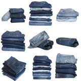 Collage of jeans isolated on white. Collection of folded jeans isolated on white background stock image