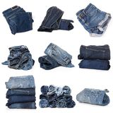 Collage of jeans on white stock photos