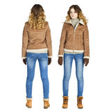 Collage, jeune belle fille dans un manteau de peau de mouton en cuir et bl photographie stock libre de droits