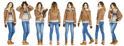 Collage, jeunes belles filles dans un manteau de peau de mouton en cuir et b Image libre de droits