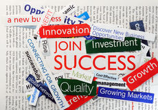 Collage join success. Collage of paper headlines about the business Stock Images