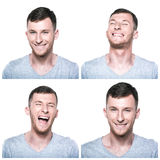 Collage of joyfull, happy face expressions. On white background Royalty Free Stock Photos