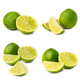 Collage of juice lime on white background Royalty Free Stock Images