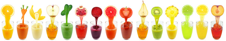 Collage juices Royalty Free Stock Photos