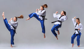 The collage of karate girl with black belt Stock Photography