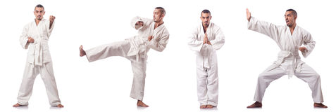 The collage of karate player in kimono isolated on white Stock Image