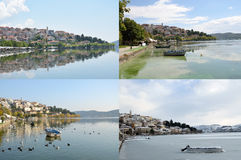 Collage of Kastoria views  in four season Royalty Free Stock Images