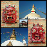 Collage of Kathmandu landmarks , Nepal Stock Photo
