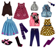 Collage of kids clothing Stock Photos
