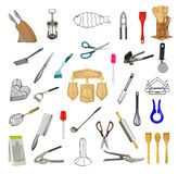 Collage of kitchen tools and accessories Royalty Free Stock Photo