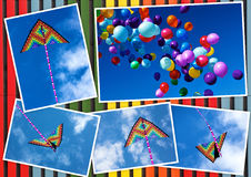 Collage kite flying and colorful balloons in the sky Royalty Free Stock Images