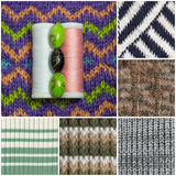 Collage from knitted texture Royalty Free Stock Images