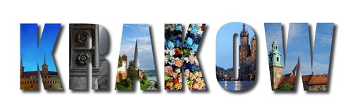 Krakow Poland raised collage. Collage of Krakow with raised letters on white, made of assorted images from around the Polish city Stock Photography