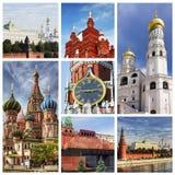 collage kremlin moscow royaltyfri bild