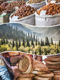 Collage of Kyrgyzstan images - travel background (my photos) Stock Image