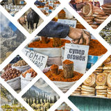 Collage of Kyrgyzstan images - travel background (my photos) Royalty Free Stock Photography