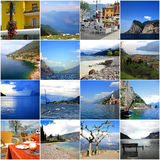Collage of lake Garda in Italy Stock Photos