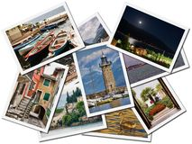 Collage of Lake Garda photos. Collage of Lake Garda photographs depicting landmarks, isolated on white background Royalty Free Stock Photos