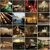 Collage of landmarks in Christmas Vienna Stock Photos