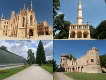 Collage of landmarks of Lednice in Moravia Stock Photography