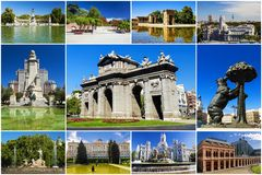 Collage of landmarks of Madrid, Spain Stock Photos