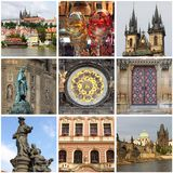 Prague landmarks collage Stock Photos
