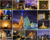 Collage of landmarks of Tallinn. Estonia Royalty Free Stock Photos