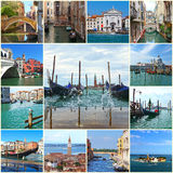 Collage of landmarks in Venice, Italy Royalty Free Stock Photo