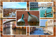 Collage of landmarks in Venice, Italy Royalty Free Stock Photography