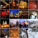 Collage of landmarks in winter Prague Stock Photos