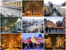 Collage of landmarks in winter Prague Stock Image