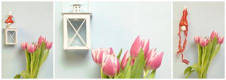 Collage with lantern and tulips Royalty Free Stock Photography