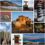 Collage of Lanzarote island, natural wonders, postcard. Wonders of natural beauty: El Golfo bay near Lago de los Clicos, beaches, Timanfaya national park, rocks Stock Photo