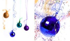 Collage las bolas del Año Nuevo de los colores Fotografía de archivo libre de regalías
