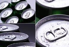 collage Latas com gotas da água fotografia de stock
