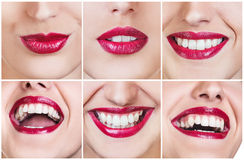 Collage of laughing woman with beautiful smile Stock Photo